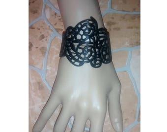 bracelet pulsera cuero troquelado negro hippie étnico punk Wristband steampunk Lace wrist cuff