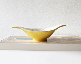 Vintage bowl, made by Jasba, decor Cortina, yellow. West Germany.