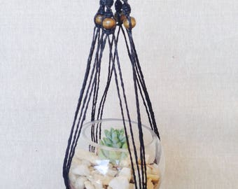 Black Macrame Hanger with Glass Sphere and Succulent, DIY Terrarium Kit, Succulent Terrarium, Hanging Plant, Green Thumb gift, glass bowl,