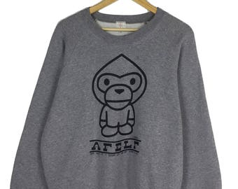 Rare!! A Baby Milo by Bathing Ape Sweatshirt Big Spellout Logo Bape Sweatshirt Big Logo Made In Japan bape pullover bape hoodie bape sweater