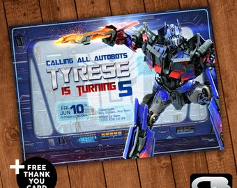 Transformers Invitation with FREE Thank You Card - Invite - Transformers Birthday Invitation - Party - Digital File Download
