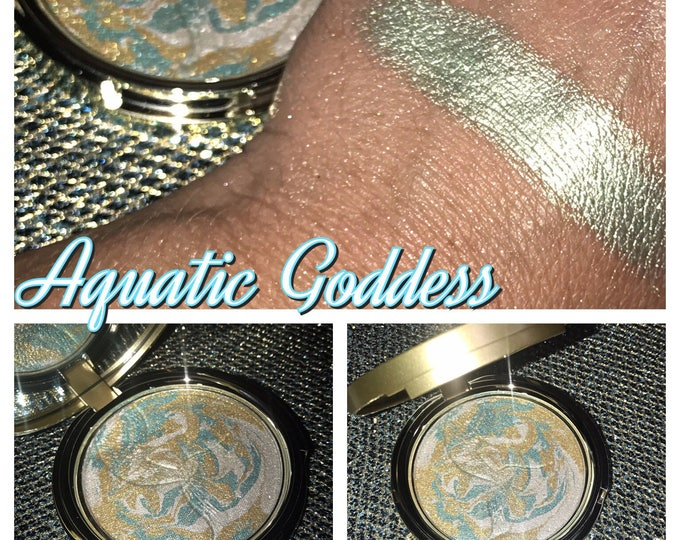AQUATIC GODDESS- Special Edition - Mermaid Highlighter / eyeshadow - aqua and gold