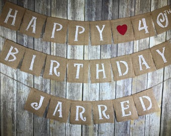 Personalized burlap banner, Personalized birthday banner, Personalized banner, Personalized happy birthday banner
