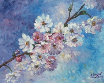 Cherry Blossom Painting Floral Oil Painting Flowers Original Artwork Fine Art Painting Impressionist Art Gifts For Mom Blue Pink Cherry Tree