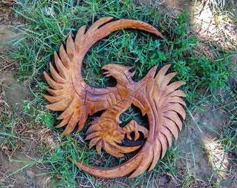 Hand Carved Phoenix Wall Decor Made Out Of Solid Wood