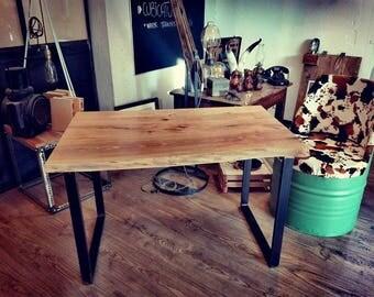 Desk with walnut floor and iron legs