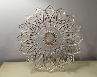 """Elegant Vintage FEDERAL GLASS """"Petal - Clear"""" 11.5"""" Sandwich Tidbit Cake Cupcake Dessert Buffet Plate PLATTER"""