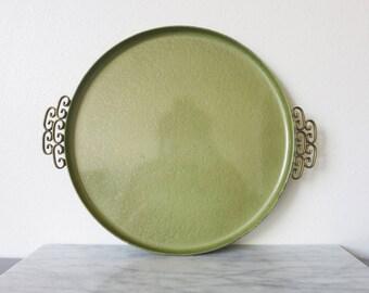 Vintage Green Metal Ottoman Tray, Ottoman Tray Decor, Rustic Ottoman Tray,  Breakfast Tray