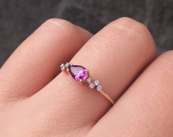14K Solid Gold Ring, Delicate Tourmaline Ring, Diamond Ring, Rose Gold Ring, Gold Engagement Ring, Bridal Jewelry, Dainty Gold Ring