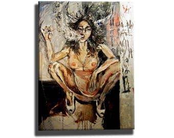 Erotic woman oil painting on canvas, nude wall art, sexy woman home decor, unique artwork