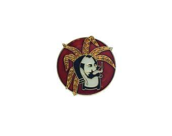 Zig Zag Man Pin Weed Leaf Metal Enamel