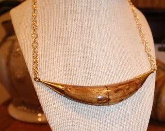 Crescent Pendant on Gold Chain