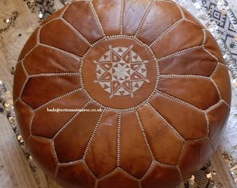 Handmade leather pouffe