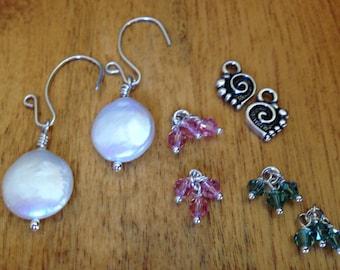 Interchangeable coin pearl earrings/Freshwater pearls/Swarovski crystals/Pearl earrings/Pewter charm