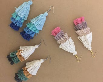 Layered 100% Cotton Tassel - Hook Dangle Earrings / 3 colours