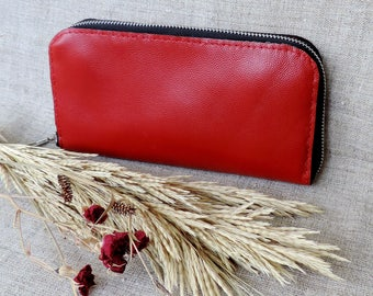 Women's Red leather Wallet zipper around card holder clutch phone wallet Large long Genuine leather coin purse zip wallet travel