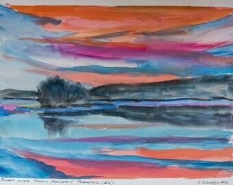 Fine Art Print of Original Watercolor Sketch - 'Sunset over Shadow Mountain Resevoir (#2)' -   Landscape - Grand Lake, Colorado