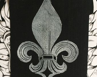 Lino Print Fleur de Lis Patch on Black Denim