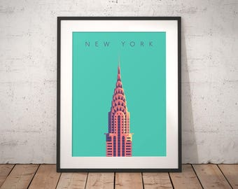 Chrysler Building New York Art Deco Vintage Minimal Architecture Poster Art Print