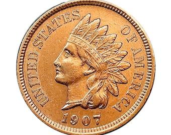 1907 Indian Head Cent - AU / BU - 3 1/2 Diamonds