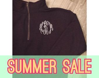 SUMMER SALE Monogrammed Quarter Zip Sweatshirt Pullover