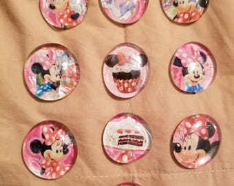 Minnie Mouse 10 glass gem magnets. Cupcake theme
