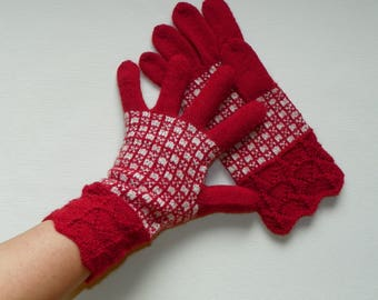 Red fingered gloves Patterned gloves Knit gloves Knitted gloves Hand knit gloves Alpaca wool gloves Fingered gloves Gift for women and girl