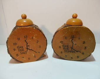 Vintage Clock Salt and Pepper Shakers - Time for Salt and Time for Pepper
