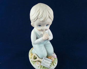Vintage Homco Figurine Kneeling and Praying Boy #1452