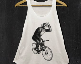 Chimpanzee Monkey bike Shirts funny shirt Color white and off white tank top Ladies S M L