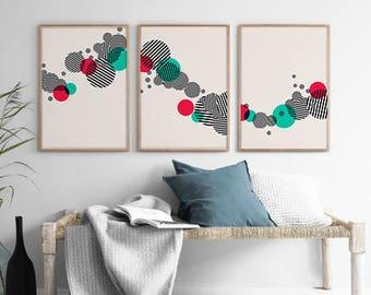 Set of 3 Geometry Art, Circle Print, Stripe Circle Print, Geometric Minimal Print, Scandinavian Print, Abstract Wall Art, Scandinavian Decor