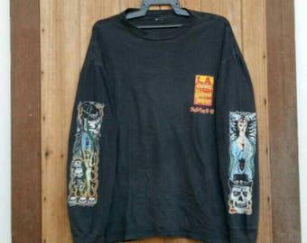 Rare!! Vintage 90s L.A. GUNS T-shirt long sleeve,American Hard Rock band, Hollywood vampires 1991-1992 black colour large size