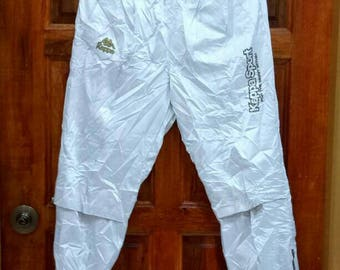 Rare!! KAPPA track pants nice design spellout small logo silver colour large size