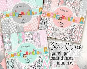 65% OFF Birthday Girl Digital Scrapbook Papers -3 Bundles Of Papers in One Price, Birthday Digital Papers Pack-Digital Papers For Print