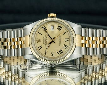 Rolex Vintage Men's Datejust 1601 Two-Tone Champagne Dial Yellow Gold