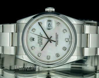 Rolex Mens Datejust 16200 Diamond Dial Smooth Bezel 36mm Watch-Mint Condition