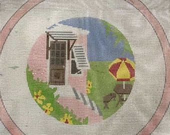 PRE-SUMMERSALE Handpainted needlepoint canvas Cottage scene from Bermuda