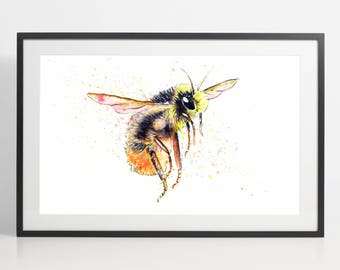 Watercolor Bumblebee Painting Print - Bumblebee art, animal watercolor, animal illustration, Bumblebee illustration, Bumblebee poster