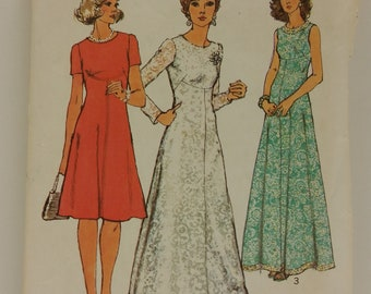 Vintage 1973 Simplicity Pattern 6094 for a Dress in Two Lengths with Sleeve Options in Size Misses' 12, Bust 34