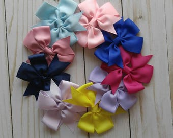 Pinwheel Bow Hair Clips   Ready to Ship   Baby Girl Hair Bows   Girl's Hair Clips   Bow Clips   Solid Ribbon Hair Bow