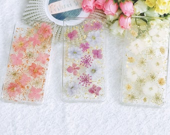 Handmade pressed flowers Silicone case for iphone 8 plus iphone 7 plus case cover purple pink white gold glitter flowers case