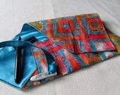 Indonesian Batik Cotton and Satin Five-Pen Wrap, Pen Roll, Pen Case