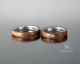 Weddingrings Bentwood Ringset Mahogani Silver