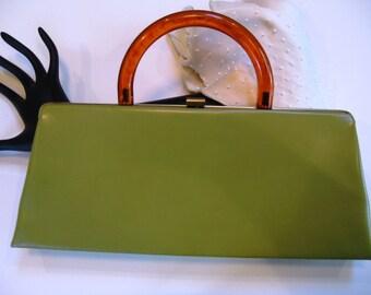 Vintage Purse, Bakelite Handle, Spring Green Leather Handbag, Locking Top Clasp, Gold Tone Metal, 1950s – 1960s