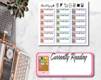 30% OFF Summer Sale - Currently Reading Kindle / E-reader Planner Stickers - Tracker. Happy Planner & Erin Condren