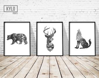 "Animal Print Set 3 8x10"", Bear Print, Deer Head Print, Wolf Print, Abstract Art, Gift Ideas, Home Print, Deer Head Art, Nature Print, Modern"