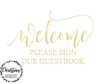 Gold Guest Book | Sign Our Guest Book | Guest Book Sign | Please Sign Our | Guestbook Printable | Printable Guestbook | Gold Guest Book Sign