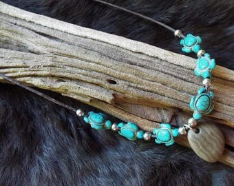 Custom made leather and stone necklace