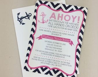Ahoy 5x7 Baby Shower Invite // Nautical Anchor Baby Girl Shower Invitation