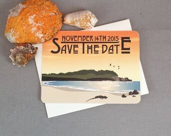 Caribbean Tropical Island Beach at Sunset Save the Date Notecards with A2 Envelopes // Bolongo Bay Virgin Islands - JA1